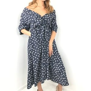 VINTAGE Navy Blue and White Bow Maxi Dress